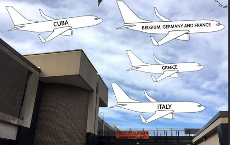 "Graphic planes flying out of South's front entrance as students have the option on going to one of many trips abroad. ""I think that kind of immersion and being in a country like that is really beneficial for language proficiency,"" said junior Astrid Berger, who is attending a school trip to Cuba."