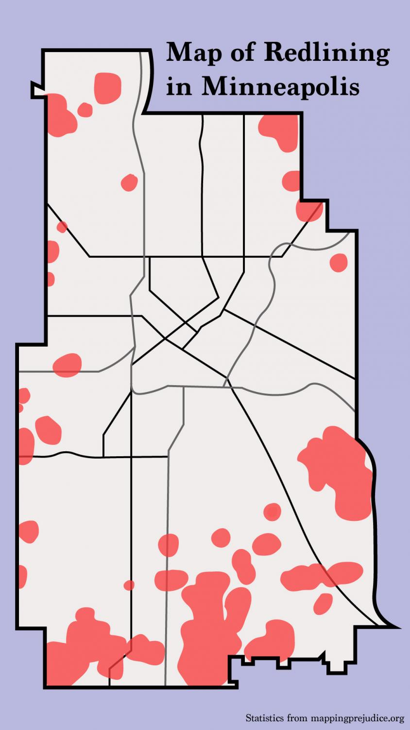 An Augsburg college study done in 2014 recorded every known instance of redlining within Minneapolis and placed them on a map of the city as a red dot. As they went through year by year of reports (from 1911-1951) the dots became blots that covered entire districts. This was what their map looked like in 1951.