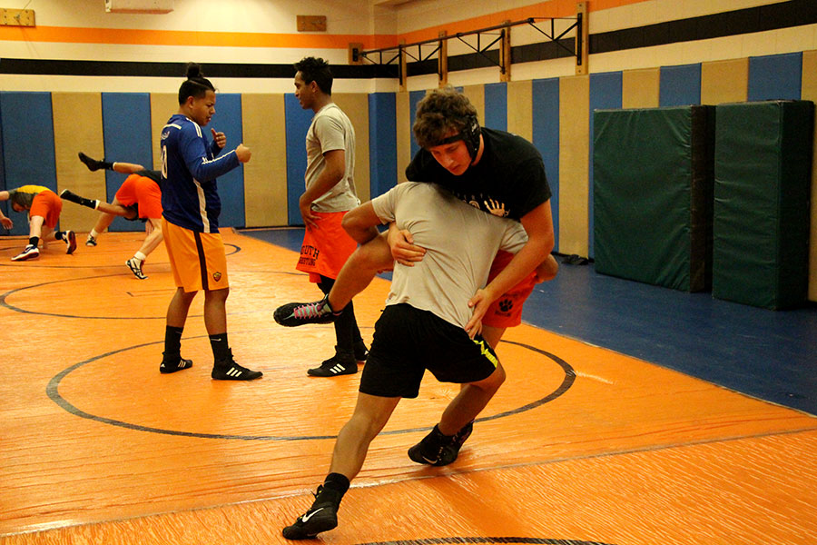 The wrestling team practices for second time this season.  Head coach Drew Gau has high hopes for the team this year