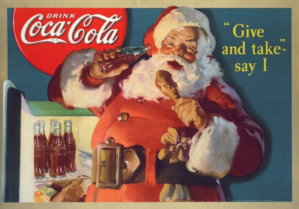 "This is an example of the Christmas Coca Cola advertisement that was released in 1931. The slogan on the ad says ""Give and and take say I,"" which is a good metaphor for the consumerism and buying that goes on during the holiday season, especially in the United States."