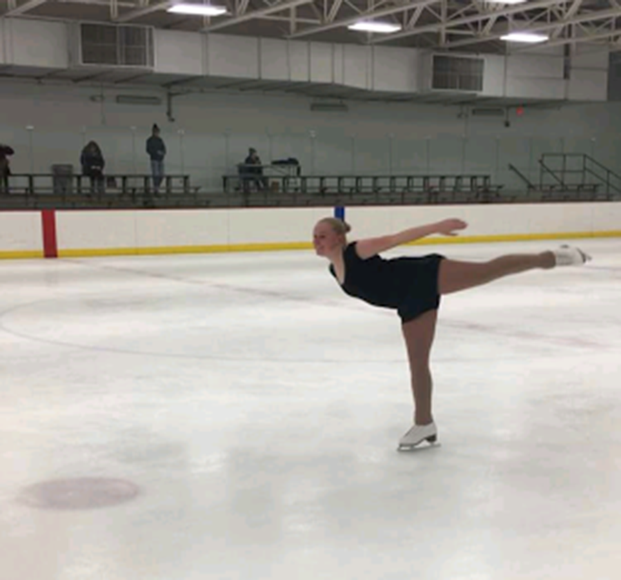 Pictured above is senior Stephanie Krause skating during a practice at Parade Ice Garden. The team hasn't had many practices, but once the group gains a few more members they hope to have them more often. Photo courtesy of Maren Stone.