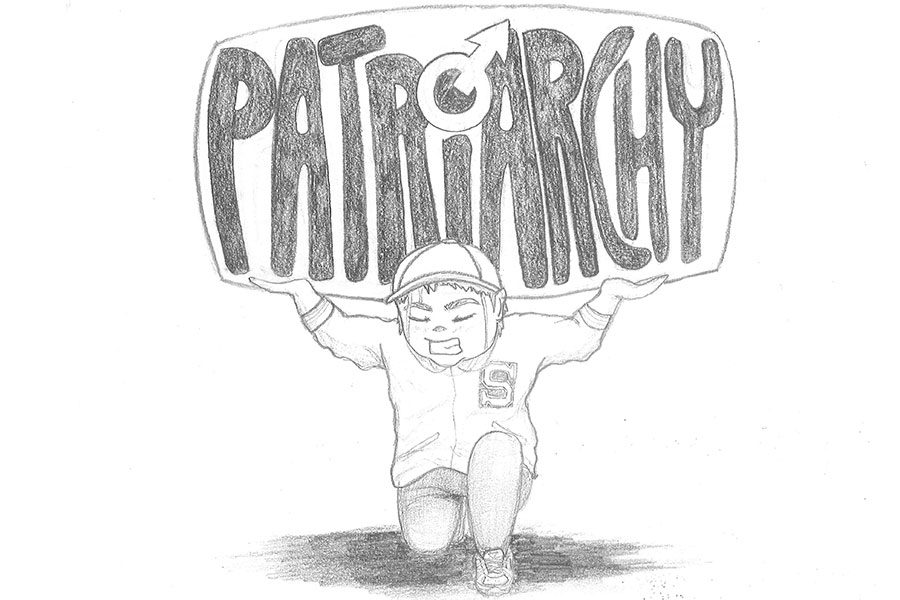 "This drawing shows me as a child holding up the weight of patriarchy. As I've grown up, the limitations I faced as my grandfather taught me to be a ""man"" made me feel weighed me down all the time. The pressures of patriarchy are harmful to both men and women in many ways."