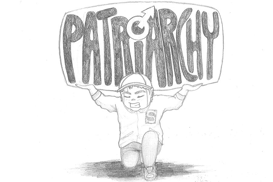 """This drawing shows me as a child holding up the weight of patriarchy. As I've grown up, the limitations I faced as my grandfather taught me to be a """"man"""" made me feel weighed me down all the time. The pressures of patriarchy are harmful to both men and women in many ways."""