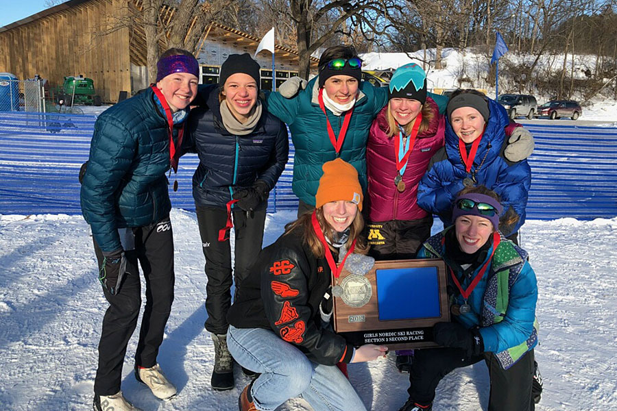 Skiers from left to right (top) Erika Peterson 8, Eliana Storkamp 9, Izzy Bergman 10, Ella Hock Robinson 8, Josie Ferguson 10, Izzy Willette 12 and Anna Mulhern 12 made it to state as a team. Photo courtesy; Izzy Willette.