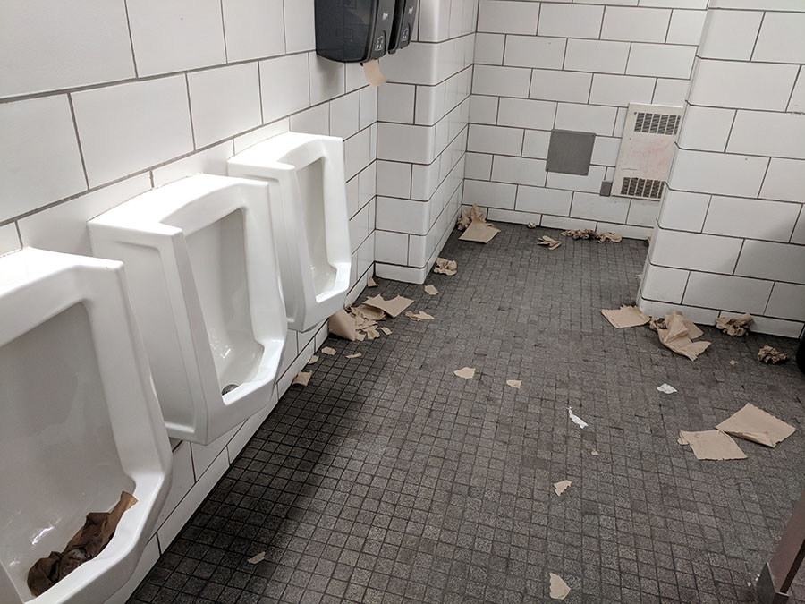 Above is a picture of the first floor bathroom, which has been completely littered with shreds of paper towels. They have been scattered all over the floor, and have even been stuffed into the urinals. Do you want to be the person who has to go in there and clean all that up? Didn't think so.