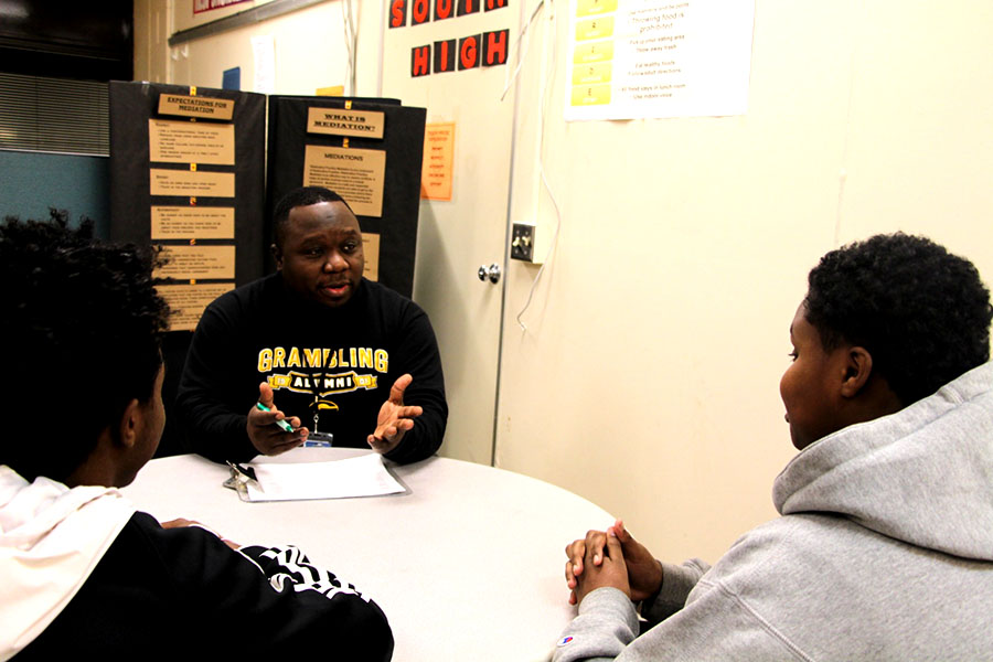 """South Dean Terrance Roberts frequently sits students down who have had conflict and uses mediation practices to resolve the issue. """"We try to sit students down and get their sides of the story by [having them] write a statement .... we hear one side and the other side and we come to a consensus with some agreements."""" Roberts is one of the few staff at South who has been trained in restorative justice practices. However, restorative justice needs to be implemented throughout the district more fully and intentionally."""