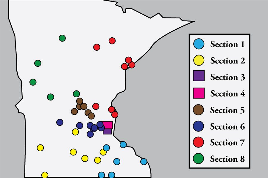 Minnesota%E2%80%99s+current+sectional+division+for+baseball%2C+Division+AAA.+South+is+a+part+of+Section+Three.+As+shown+above+the+distance+between+some+schools+can+be+long%2C+often+causing+extended+trips+for+section+games.+Graphic%3A+Eli+Shimanski%0A
