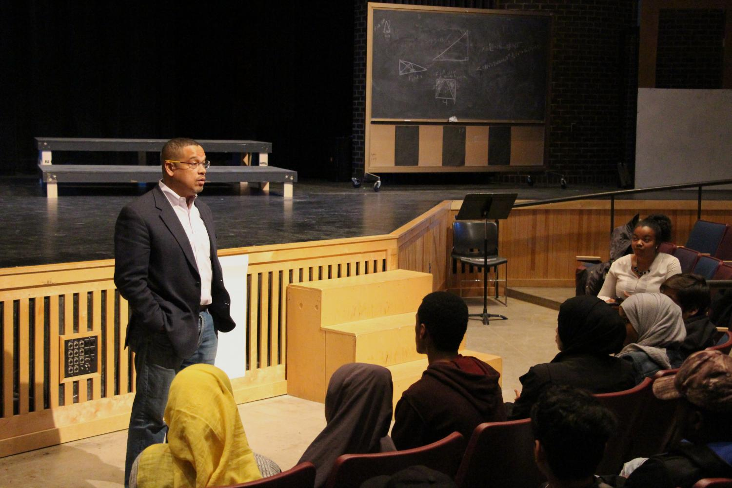 "This morning, congressmember Keith Ellison came to South to speak with a group of 73 students about gun control, in light of the recent school shooting in Florida. Sophomore Anas Abukr said he thought the panel, ""went really good. We touched on a lot of hard things, and there were a lot of ideas I heard. [Gun control] is a big problem in schools and there should be a lot of steps taken higher up to ensure students are safe."" Photo: Soline Van de Moortele"