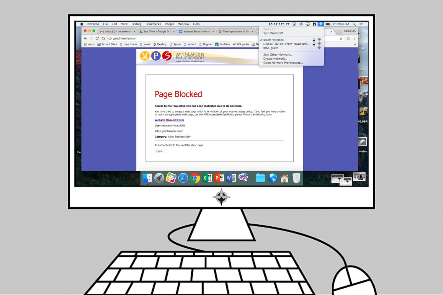 "Students and staff are sometimes faced with the ""Page Blocked"" pop up when they are trying to complete a project or anything else while on the school wifi. Along with websites, social media apps like Snapchat, Facebook, and Instagram are also blocked on phones if students are on school wifi. Graphic: Eli Shimanski"