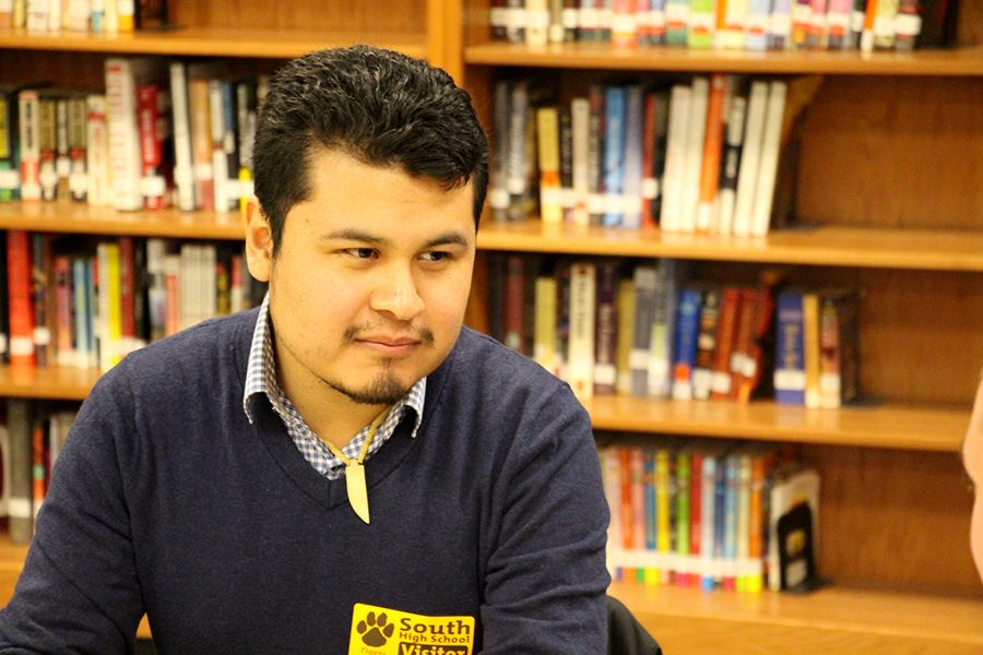 Jose+Alvillar%2C+the+Educational+Justice+Organizer+for+local+non-profit+Navigate+Minnesota%2C+recently+gave+a+presentation+to+South+staff+and+students+on+the+financial+opportunities+for+students+who+are+undocumented+or+have+DACA.+Alvillar+stresses+that+students+should+reach+out+to+other+people+and+organizations.+%E2%80%9CHaving+that+support+system%2C+having+others+who+have+similar+lived+experiences%2C+always+kind+of+uplifts+you+and+makes+you+know+that+things+will+be+better+one+day.%E2%80%9D+Photo%3A+Eli+Shimanski