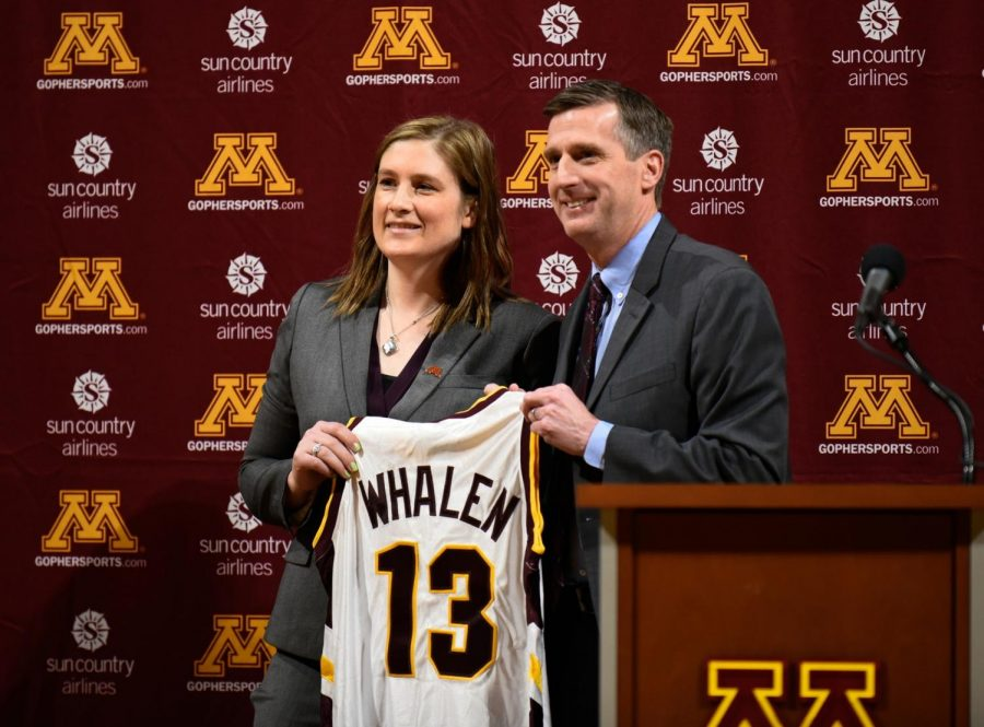 Caption%3A+Lindsey+Whalen+with+University+of+Minnesota+athletic+director+Mark+Coyle+after+being+introduced+as+the+new+women%E2%80%99s+basketball+coach.+Whalen+will+be+coaching+the+team+she+played+for+when+she+was+a+student+at+the+University+of+Minnesota.+Photo+courtesy+of+Star+Tribune