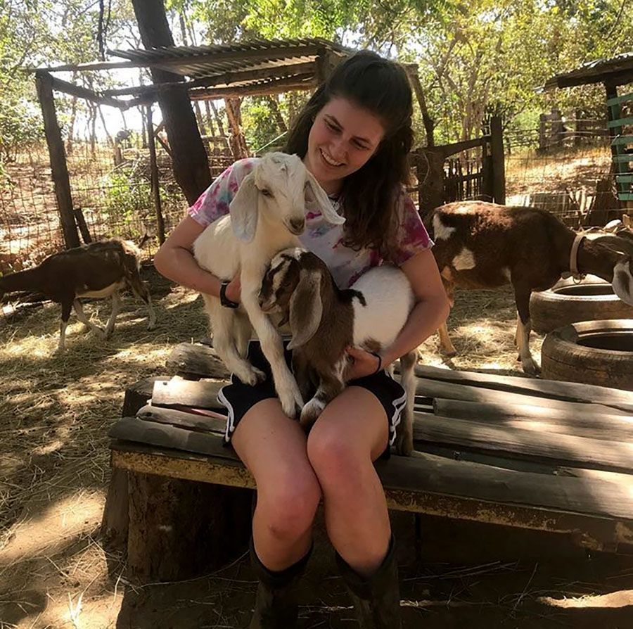 "Celina Barnett-Cashman, class of 2017, went on a gap year this year before attending college. Pictured here at The Monkey Farm in Playa del Coco, in the Guanacaste province of Costa Rica, Barnett Cashman enjoyed her year because it was break from the common high to college pathway. ""It's definitely given me the perspective that I don't have to lay out my life the way that society makes me think I have to lay it out."""