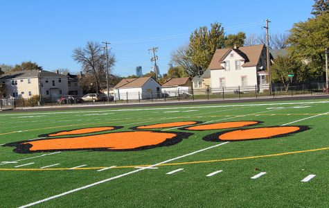 This is a picture of the logo which students designed in their Civil Engineering Class at South. The logo is supposed to represent a tiger paw, and is located in the center of the new field. This design was chosen over others for its simplicity and connection to South's sports teams, the tigers. Photo: Patrick Bruch