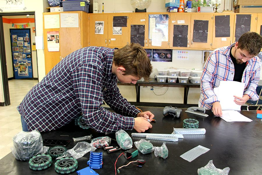 Noah Gray (Left) and Ryan Rosillo (Right) are two founding members of the renewed robotics club. They worked hard to get funding from the South High foundation to bring their club back and its possible other clubs that were cut last year can replicate this process so they can return too.  Photo: Oliver Hall
