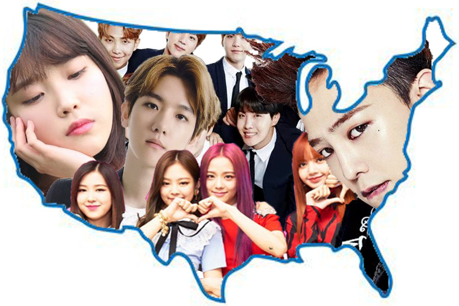 Korean pop culture (K-pop) has become increasing more popular in the United States over the past few years. Pictured left to right IU, EXO, BTS, Black Pink, and G Dragon are just some of the popular groups and members of the K-pop music industry.