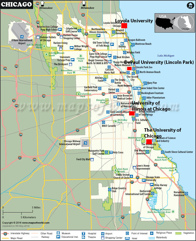 "Shown above is a map of the schools within Chicago that students will be visiting. ""No complaints, good tour,"" said South senior Eoin Irmiter, who went on the trip last year."