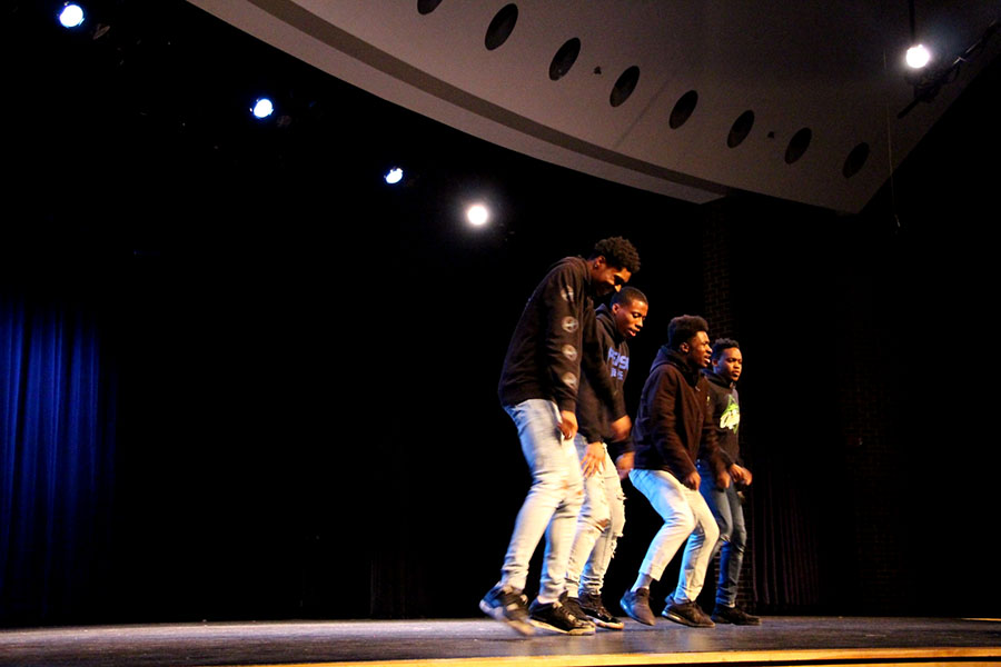 "The Trndsttrz [Trend Setters] perform their dance montage at the talent show on Friday, March 22. Majesty, Naz, Sylence and Isaiah perform intricate footwork throughout their dances, portraying their passion for dance. ""[We enjoy participating] because it brings love and joy to everybody. Everybody wants to see the Trndsttrz dance and that's our thing,"" stated Mckinnie. ""We're setting the trend in dance, at the talent show. Everybody motivates us, we motivate ourselves and dancing is just a part of us."""