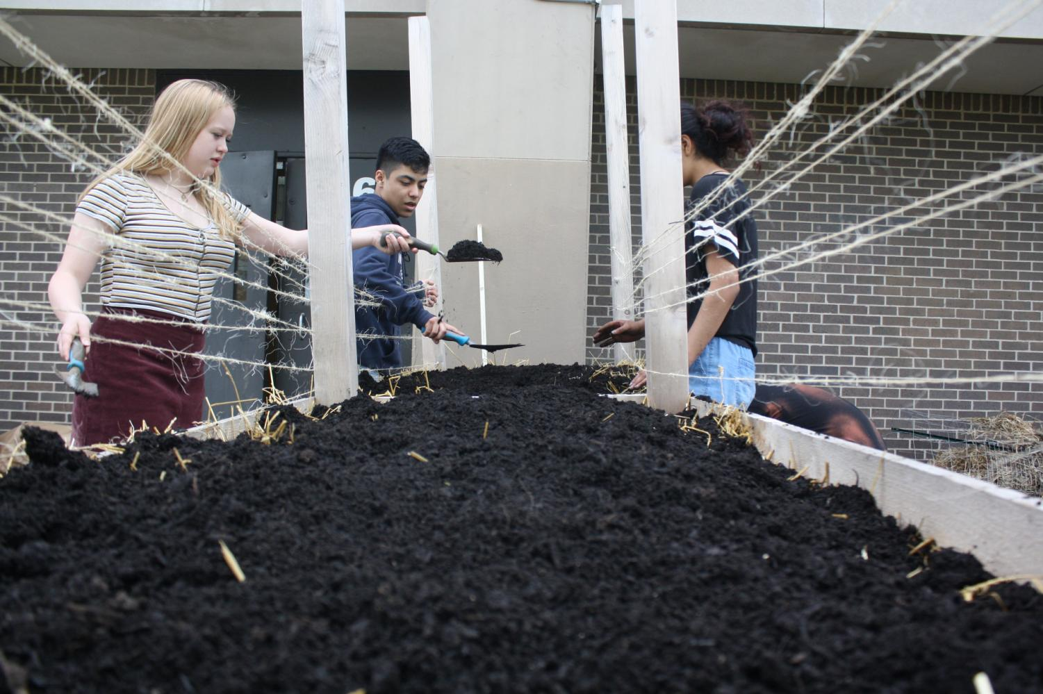 "Sophomores Zigi Kaiser-Holt and Emmanuel Najera Vilchis add dirt to a garden box during the South Garden Party. Overall, Science teacher Susan Peterson stated that one of the most important ways to contribute to food justice is ""that people are educated around the impact of eating healthy foods and where there food comes from,"" so that we as a society can shift towards an initiative for accessible, organic food for everybody."