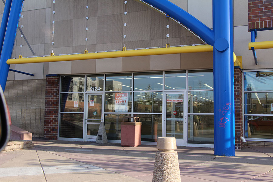 """The empty store front of the former Savers store on Lake Street. Many South and community members are affected by this closing. """"It's really a shame to see Savers close, it's in a super convenient spot for many people,"""" said senior Eoin Irmiter."""