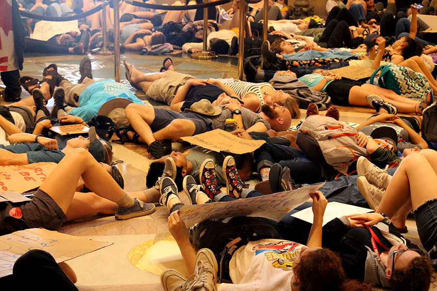 """Demonstrators lay down in the rotunda in the state capitol.  This is called a """"die- in"""", which is to demonstrate the effects of the climate catastrophe.  There are many things that students can do to help combat climate change. The MN climate strike offers workshops, there will be other future demonstrations and something students can do anytime is to research for info about the climate crisis."""