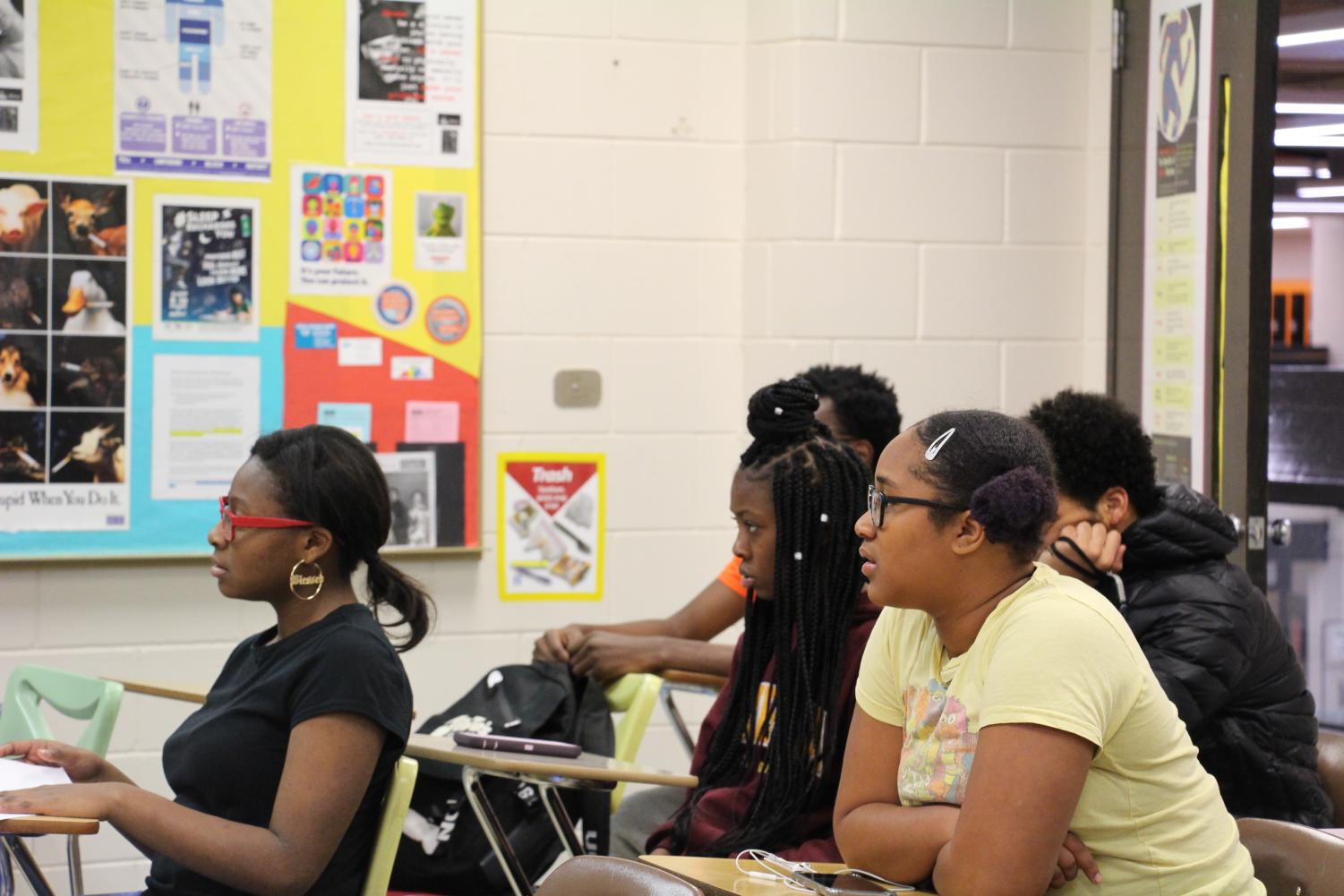 The Black Student Union is new this year to South. It is a safe place for Black students to connect with each other on a deeper level, to talk about issues revolving around the Black community, and ways to unite one another. Here, members of BSU are actively participating in Wednesdays discussion, the topic being police brutality, and what to do if police stops you at any given situation.
