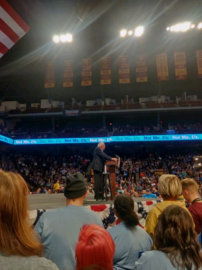 "Bernie Sanders speaks to a crowd of thousands of his supporters in the Williams Arena at the University of Minnesota. Several South students came to support Sanders, a frontrunner in the 2020 presidential race, and hear more about his plans. ""The energy of being around other Bernie supporters was too good to miss,"" said Tiger Worku, a senior at South who attended the event."