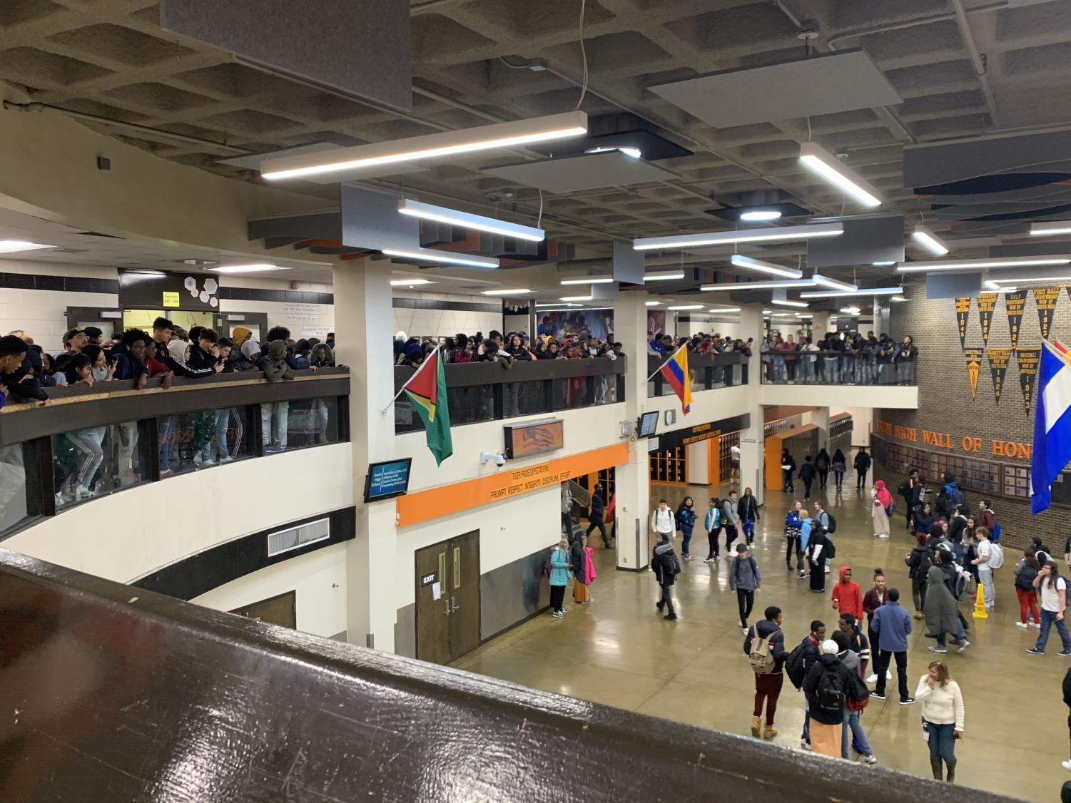 South is known for its ability to protest over matters they care about. On November 22, students gathered on the balcony to protest against increasingly strict security at South, specifically a cutdown on student passes.
