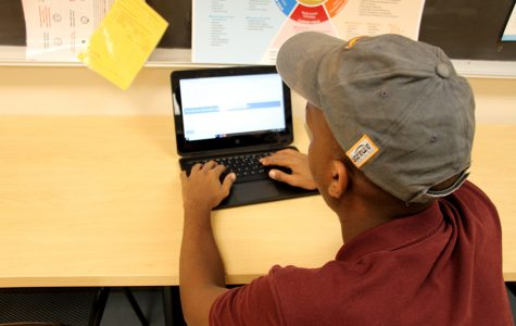 A student applies for Step Up in the CCC.  Step Up helps students of Minneapolis get their first jobs, and helps teach interviewing skills, professional skills, and much more.